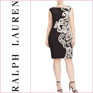 Lauren by Ralph Lauren Printed Jersey Sheath Dress